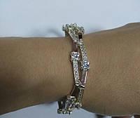 Срібний жіночий браслет із золотом Венеція, фото 1