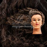 Учебный манекен для причесок, укладок и плетения PROFI №1-B с натуральными волосами, темный