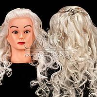Учебный манекен для причесок, укладок и плетения PROFI №1-W   70% натуральный волос, ультра белый
