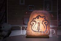 """Соляная лампа, ночник """"Котики"""""""
