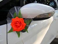 Украшение на зеркала свадебного автомобиля с оранжевыми цветами (арт. CDM-3)