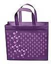 Эко-сумка  с замочком фиолет цветочки (спанбонд)32*29*8
