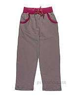 Штаны трикотажные для девочки Niso Baby ДМТ-2 серо-розовые 146-152