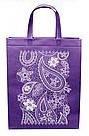 Эко сумка вертикальная  абстракция фиолетовая (спанбонд)