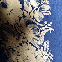 Эко сумка вертикальная  цветок на син фоне (спанбонд)