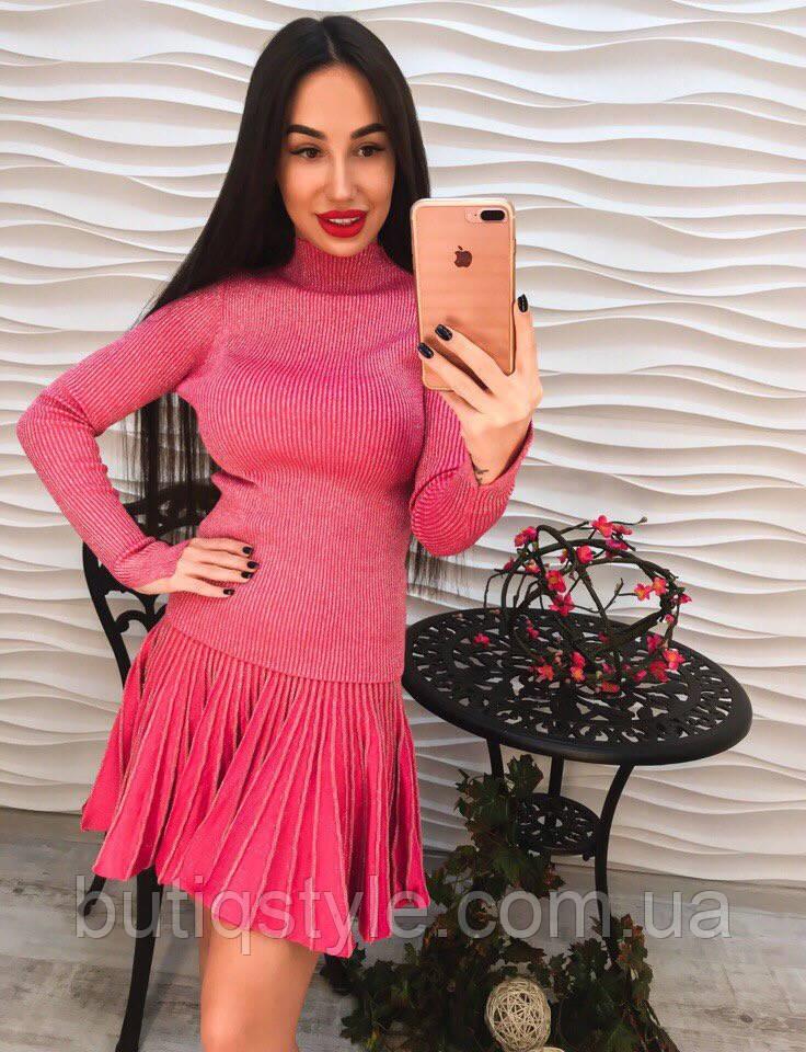 Стильный женский костюм с люрексом юбка и кофта только розовый