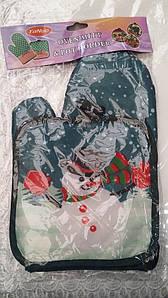Новогодний набор прихватка+рукавица Снеговик, новогодний набор прихватка и рукавица оптом от производителя