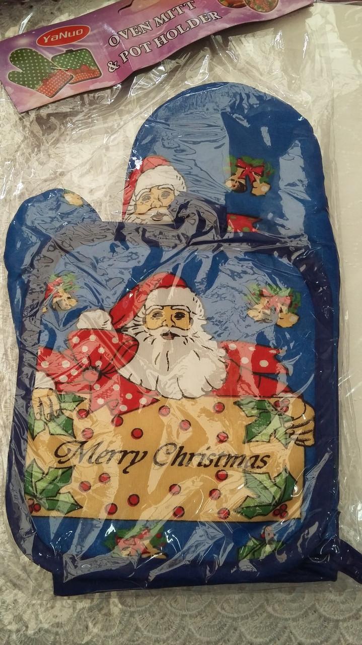 Новогодний набор прихватка+рукавица Санта Клаус, новогодний набор прихватка и рукавица оптом от производителя