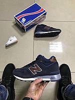 Зимние мужские кроссовки New Balance темно-синие мех натуральный нубук