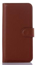 Кожаный чехол-книжка для Asus Zenfone 2 ZE500CL коричневый