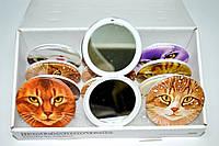 Зеркальце карманное двустороннее пластиковое Кошки