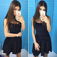 """Красивое черное бархатное платье """"Монро"""" с сеткой. Арт-11070"""