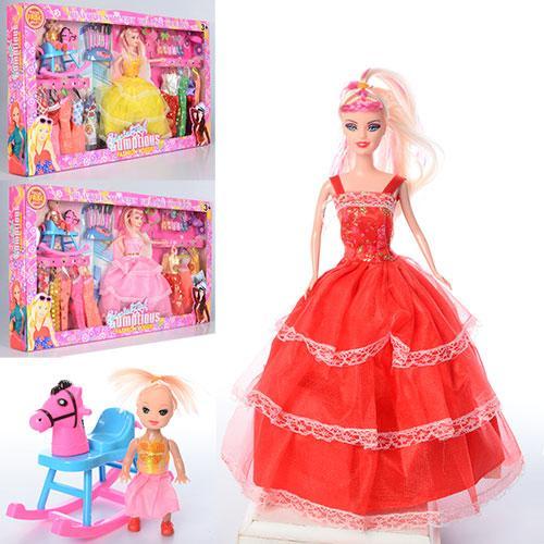 Кукла с нарядом 958-B (24шт) 28см,дочка10см,платья10см,лошад-качалка,аксес,микс вид,в кор,58-33-6см