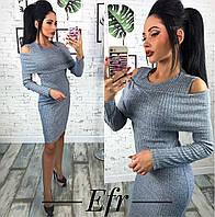 Женское Платье с вырезами на плечиках ангора+люрекс