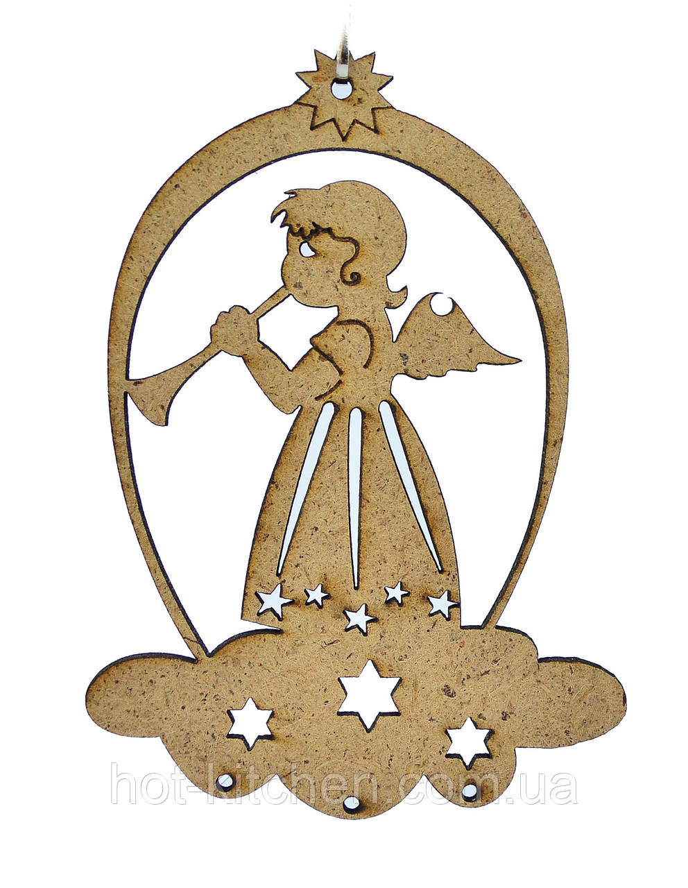 Деревянная новогодняя игрушка заготовка из ДВП. Ангел с флейтой
