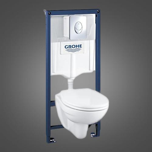 Инсталляционная система GROHE Solido Perfect Набор 4 в 1 с подвесным унитазом (39192000)