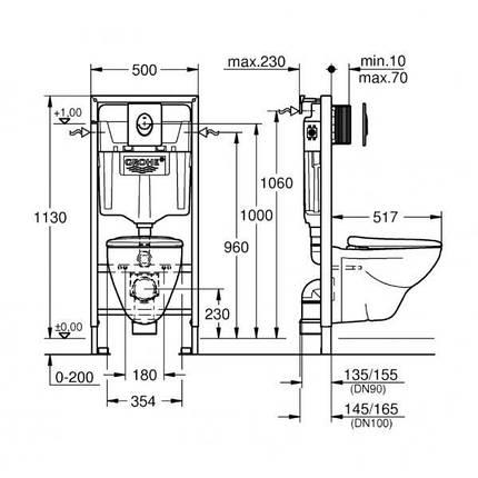 Инсталляционная система GROHE Solido Perfect Набор 4 в 1 с подвесным унитазом (39192000), фото 2