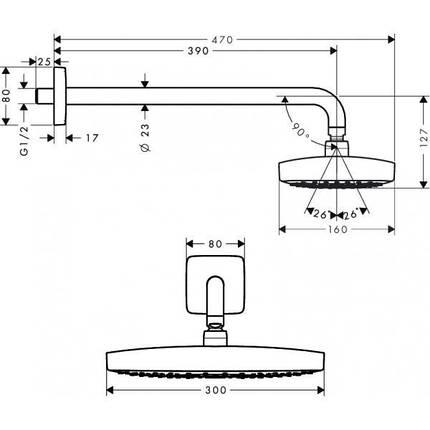 Верхний душ Hansgrohe Raindance Select E 300 2jet (27385000), фото 2