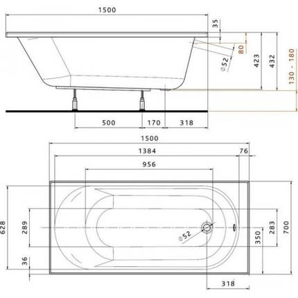 Ванна акриловая Kolo Opal Plus 150 (XWP135000N), фото 2