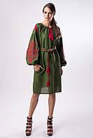 Платье зеленое с вышивкой Цветущий сад , фото 1