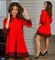 Стильное красное платье-трапеция с черной кружевной отделкой. Арт-11088