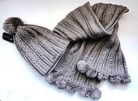 Комплект Брекстон шапка и шарф женский бежевый