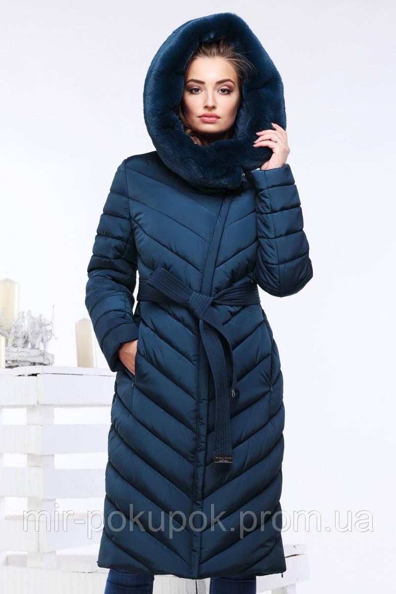 Зимнее женское пальто Фелиция 2 изумруд - интернет-магазин