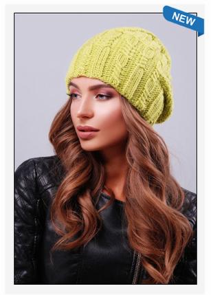 Женская шапка двойная вязка до макушки фисташковый цвет, фото 2