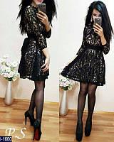 Стильное черное мини платье с расклешенной из гипюра. Арт-11090