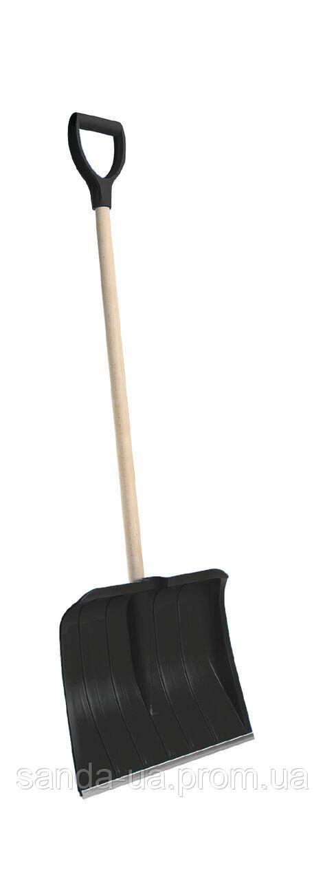 Лопата для уборки снега Snow pusher с деревянным черенком 50х141см черная,Plastkon