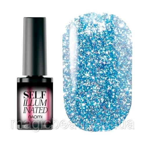 Гель-лак Naomi Self Illuminated SI 08 сверкающий нежно-голубой с блестками и слюдой, 6 мл