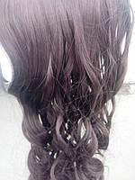 волос на заколках накрученный каштан с оттенком