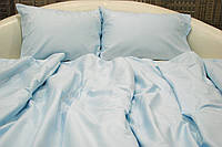 Набор постельного белья с вышитым вензелем, семейный 215х145х2, сатин, голубой