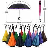 Ветрозащитный зонт обратного сложения д110см 8сп WHW17133 Green L., фото 4