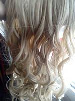 Парик волосы на заколках кучерявые блонд