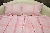 Набор постельного белья, семейный 215х145х2, сатин, розовый с кружевом