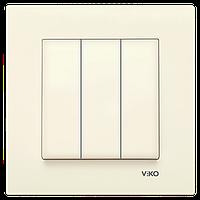 Выключатель трехклавишный VIKO Karre Крем 90960168