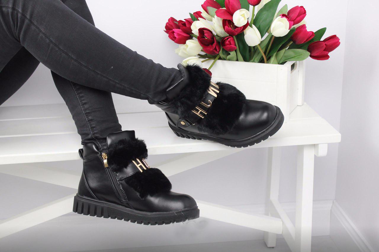 Ботинки женские на меху (черные), ТОП-реплика