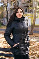 Осенняя куртка большого размера черная р. 54-60