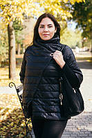 Осенняя куртка черная с рукавом 3/4 р. 56
