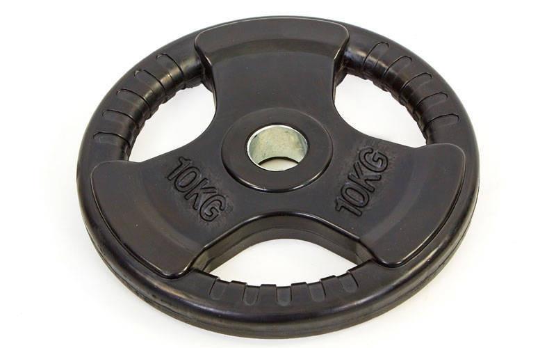 Блины (диски) обрезиненные с тройным хватом и металлической втулкой d-52мм TA-8122-10 10кг (чер)