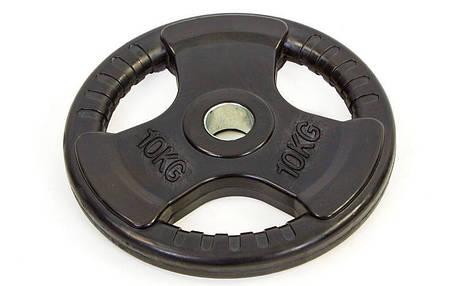 Блины (диски) обрезиненные с тройным хватом и металлической втулкой d-52мм TA-8122-10 10кг (чер), фото 2