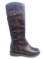 Кожаные женские зимние сапоги на устойчивом каблуке Romax 5206