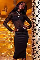 Женская черная блуза Халиси ТМ Jadone  42-48 размеры