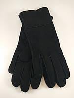 Перчатки женские дубляж натуральный мех черный