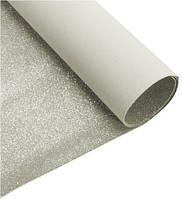 Дизайнерский  картон с  глиттером 50 х 70 см., серебро