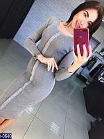 Стильное серое трикотажное платье с линией пуговиц по середине. Арт-11099