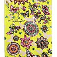 Ткань полотенечная вафельная ткань для полотенец набивная желтая с бабочками, цветами, ш. 40