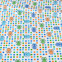 Ситец ткань для пеленок набивной белый в разноцветный горох и совы, ш. 95