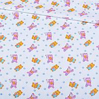 Ситец ткань для пеленок набивной белый с розовыми мишками, зайчиками, ш. 95